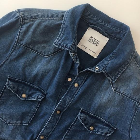 b5fbb65e Zara chambray shirt L Believe in Yourself denim. M_5a8f84073800c566c7dec5b8